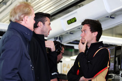 (L to R): Jonathan Palmer, with Matthew Carter, Lotus F1 Team CEO and Jolyon Palmer, Lotus F1 Team Test and Reserve Driver