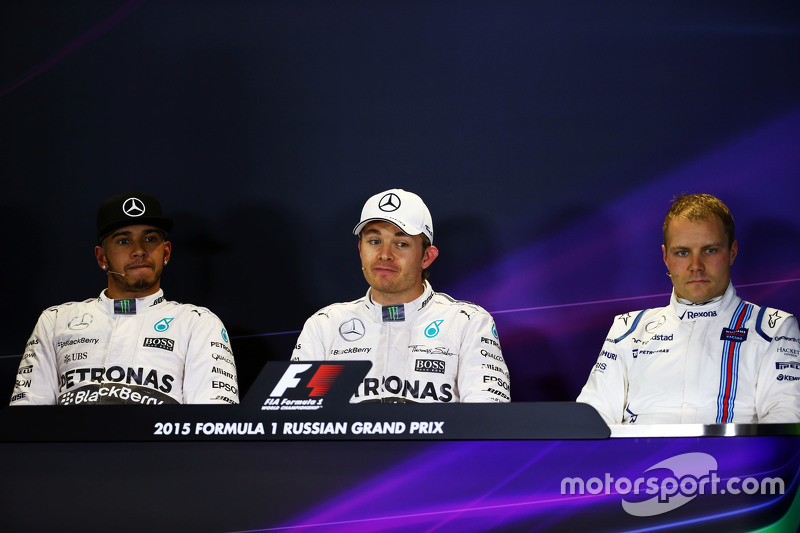The post qualifying FIA Press Conference,: Lewis Hamilton, Mercedes AMG F1; Nico Rosberg, Mercedes AMG F1; Valtteri Bottas, Williams
