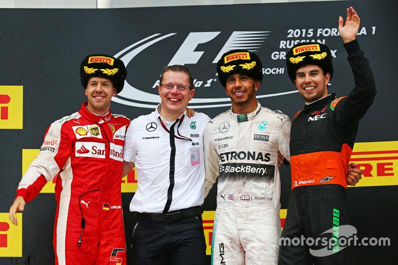 2015 : 1. Lewis Hamilton, 2. Sebastian Vettel, 3. Sergio Pérez