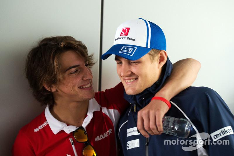 (L to R): Roberto Merhi, Manor F1 Team with Marcus Ericsson, Sauber F1 Team