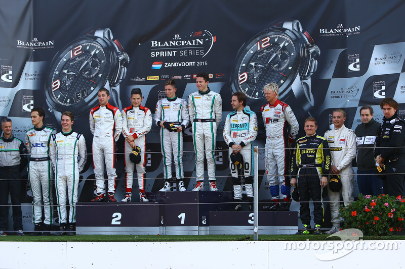 Podium: winners Maximilian Buhk, Vincent Abril, second place Christopher Mies, Robin Frijns, third p