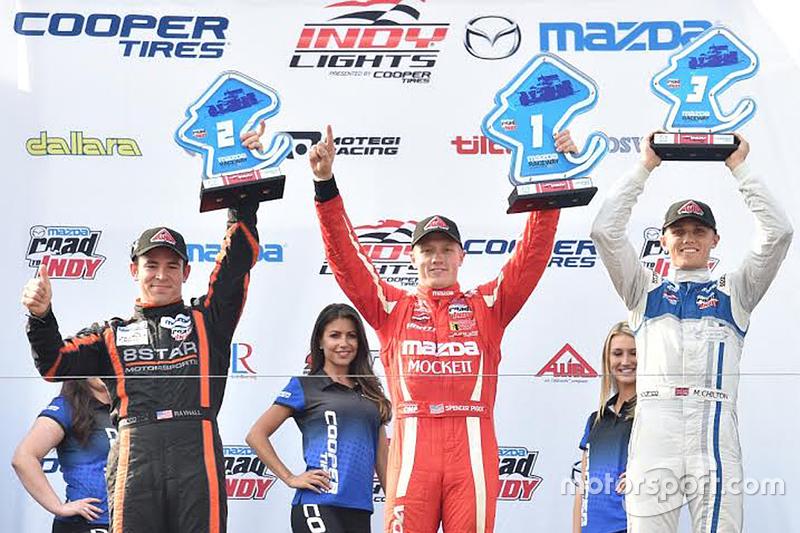 Podium: Race winner Spencer Pigot, Juncos Racing, second place Sean Rayhall, 8 Star Motorsports and
