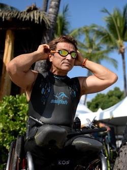Alex Zanardi prepares to compete in the Hawaii Ironman triathlon