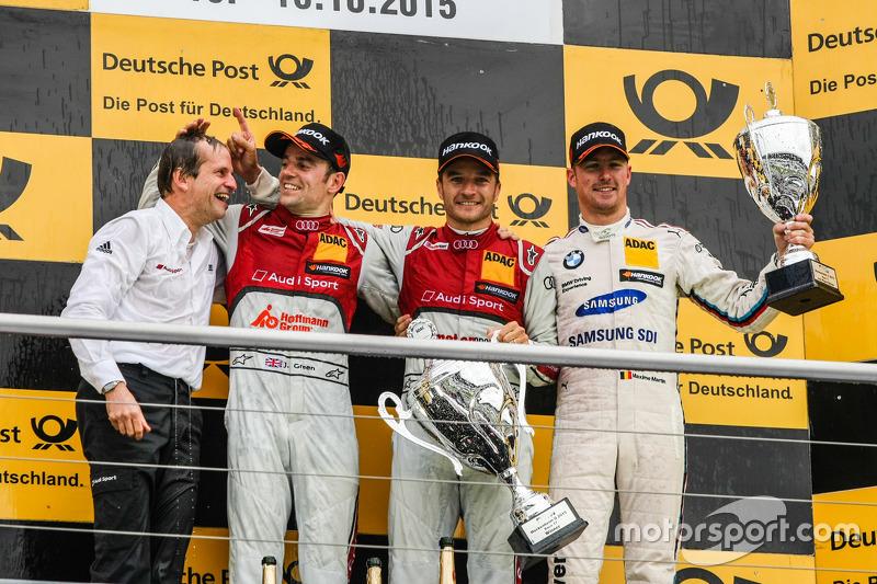 Podium: second place Jamie Green, Audi Sport Team Rosberg Audi RS 5 DTM and winner Timo Scheider, Au