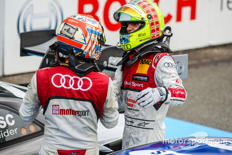 Winner Timo Scheider , Audi Sport Team Phoenix Audi RS 5 DTM and 2nd Jamie Green , Audi Sport Team R