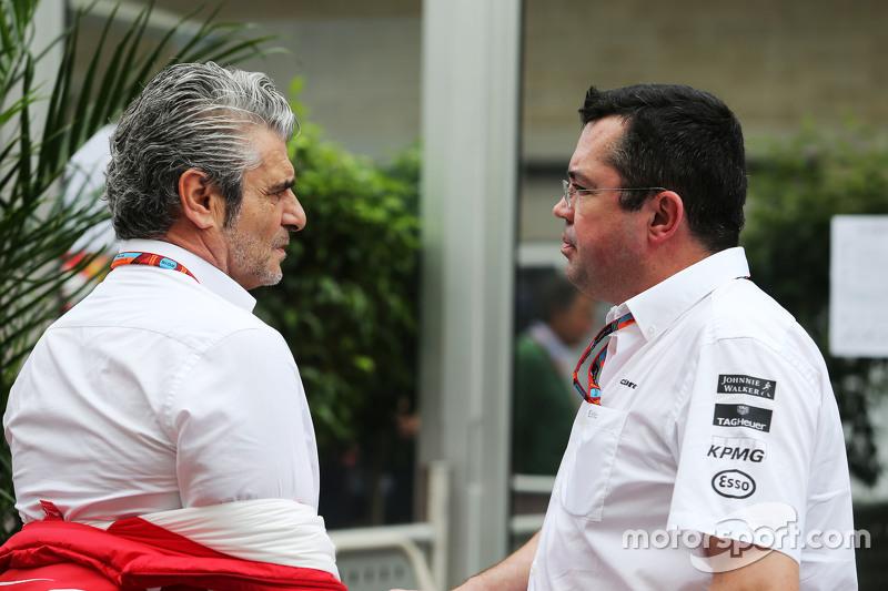 (L to R): Maurizio Arrivabene, Ferrari Team Principal with Eric Boullier, McLaren Racing Director