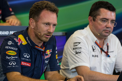 (L to R): Christian Horner, Red Bull Racing Team Principal and Eric Boullier, McLaren Racing Director in the FIA Press Conference