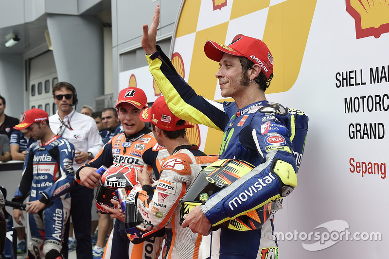 Polesitter Dani Pedrosa, Repsol Honda Team, second place Marc Marquez, Repsol Honda Team and third place Valentino Rossi, Movistar Yamaha MotoGP