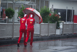 Ferrari staff in the rain in the paddock