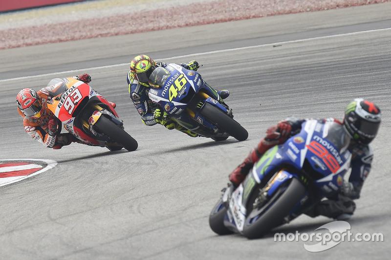 Jorge Lorenzo, Yamaha Factory Racing, Valentino Rossi, Yamaha Factory Racing, y Marc Marquez, Repsol