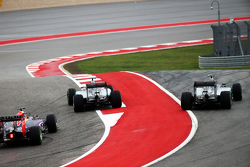 Nico Rosberg, Mercedes and Lewis Hamilton, Mercedes make contact in turn one