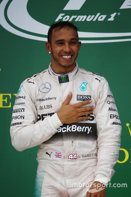 Podium: Race winner and World Champion Lewis Hamilton, Mercedes AMG F2