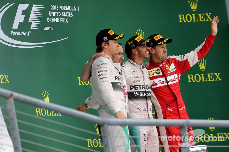 Nico Rosberg, Mercedes AMG F1 Team, Sebastian Vettel, Scuderia Ferrari e Lewis Hamilton, Mercedes AM
