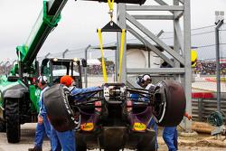 The damaged Red Bull Racing RB11 of Daniil Kvyat, Red Bull Racing