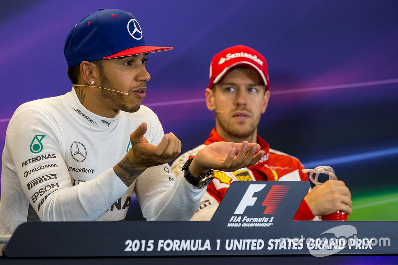 Race winner and World Champion Lewis Hamilton, Mercedes AMG F1 with third place Sebastian Vettel, Ferrari in the FIA Press Conference