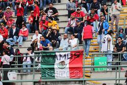 Фанаты на главной трибуне и флаг Мексики