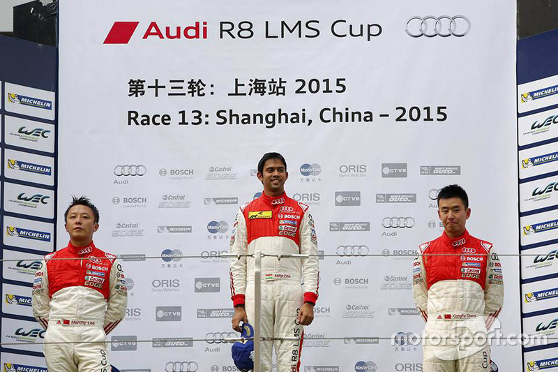 Podium: winner Aditya Patel, Team Audi R8 LMS Cup, second place Marchy Lee, Audi Hong Kong Team, third place Cheng Congfu, FAW-VW Audi Racing