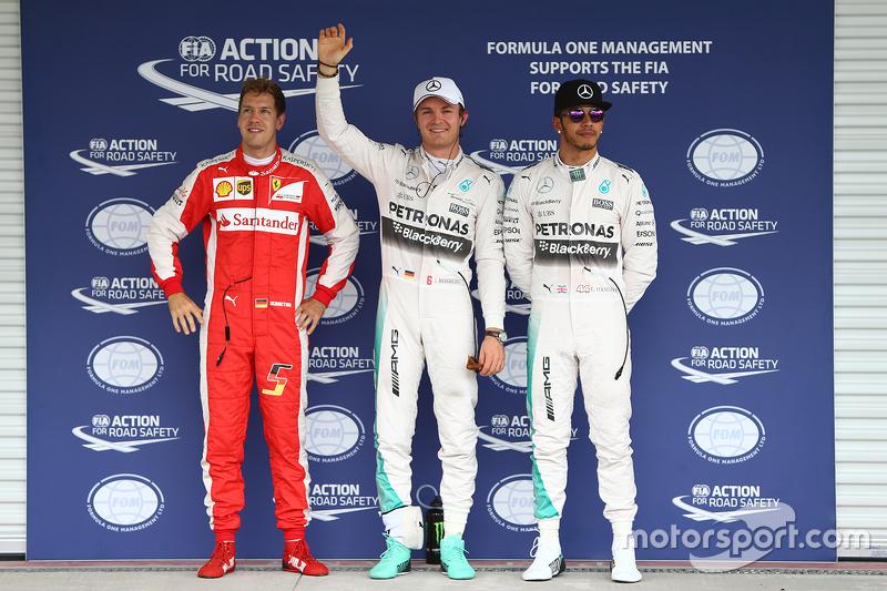 Pole for Nico Rosberg, Mercedes AMG F1 W06, second for Lewis Hamilton, Mercedes AMG F1 and third Sebastian Vettel, Ferrari SF15-T