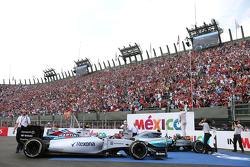 Race winner Nico Rosberg, Mercedes AMG F1 Team, second place Lewis Hamilton, Mercedes AMG F1 Team and Valtteri Bottas, Williams F1 Team
