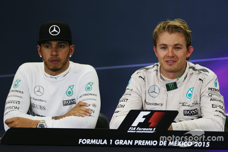 Lewis Hamilton, Mercedes AMG F1 and race winner Nico Rosberg, Mercedes AMG F1 in the post race FIA P