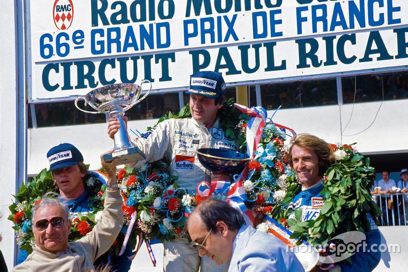Podium: winner Alan Jones, Williams, second place Didier Pironi, third place Jacques Laffite