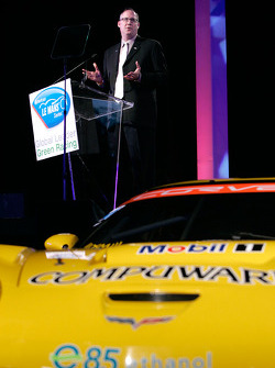Chevrolet General Manager Ed Peper announces the championship-winning Corvette Racing team will use