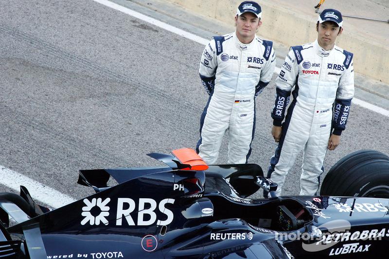Williams F1 Team photoshoot: Nico Rosberg, WilliamsF1 Team, Kazuki Nakajima, Williams F1 Team, and t