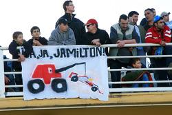 Fans with a banner for Lewis Hamilton, McLaren Mercedes