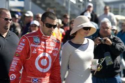 Dario Franchitti and wife Ashley Judd head to pit area at the end of the race