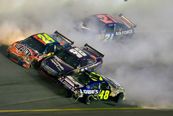 Jeff Gordon, Jimmie Johnson, David Gilliland and Bill Elliott crash