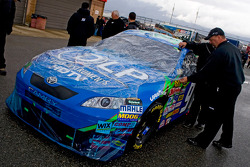J.J. Yeley's 96 car waits to get inspected