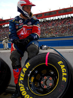 David Ragan's pit crew member waits to begin the Auto Club 500