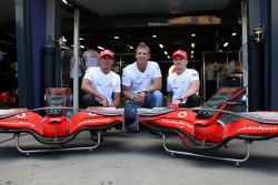 Shane Warne, Former Australian International Cricket player, Lewis Hamilton, McLaren Mercedes, Heikki Kovalainen, McLaren Mercedes