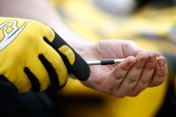 A David Price Racing mechanic
