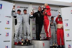 GT3 podium: Hector Lester and Allan Simonsen celebrate win