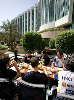 Renault F1 drivers training in Bahrain: the drivers have their breakfast
