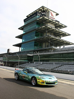 The Chevrolet Corvette E85 Pace Car in the shadow of the Bombardier Learjet Pagoda at IMS
