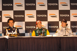 Post-race press conference: race winner Will Power with Franck Montagny and Mario Dominguez