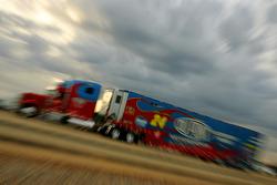 Jeff Gordon's hauler pulls into the Talladega Superspeedway