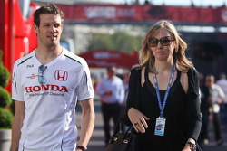 Alexander Wurz, Test Driver, Honda Racing F1 Team and his wife Julie