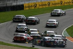 Start: Crash between Mike Rockenfeller, Audi Sport Team Rosberg, Audi A4 DTM, Martin Tomczyk, Audi Sport Team Abt Sportsline, Audi A4 DTM and Bruno Spengler, Team HWA AMG Mercedes, AMG Mercedes C-Klasse