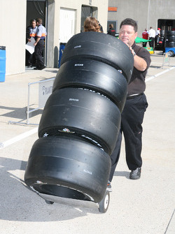 Firestone Firehawk tires being delivered to team garages in Gasoline Alley