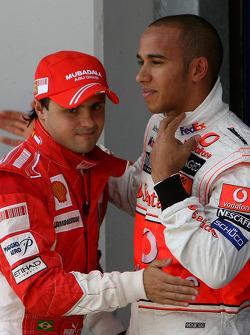 Pole winner Felipe Massa, Scuderia Ferrari and 3rd, Lewis Hamilton, McLaren Mercedes