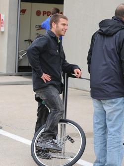 Ernesto Viso on his unicycle