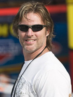 Country singer, Darryl Worley, spends some time in the garage area before qualifying