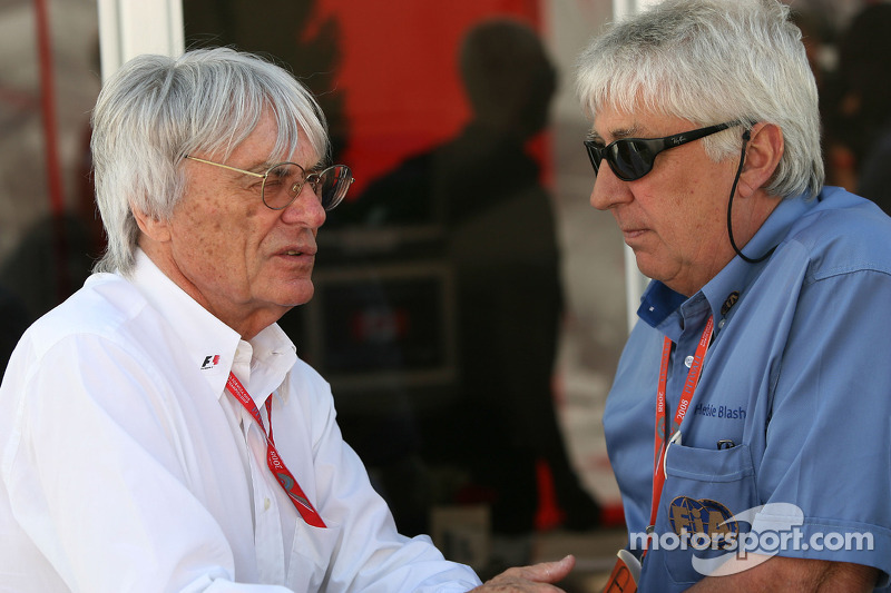 Bernie Ecclestone, President and CEO of Formula One Management and Herbie Blash, FIA Observer