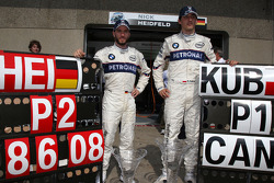 BMW Sauber F1 team celebrations: race winner Robert Kubica celebrates with Nick Heidfeld
