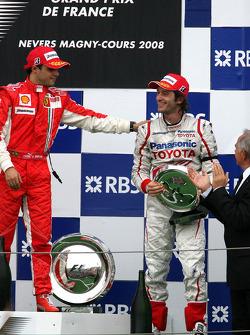 Podium: race winner Felipe Massa with Jarno Trulli