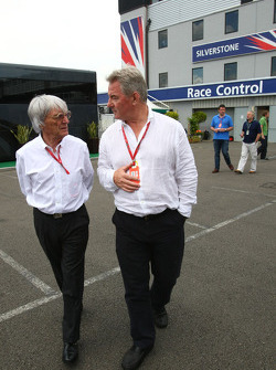 Bernie Ecclestone, President and CEO of Formula One Management and F1 Journalist, Bob McKenzie of