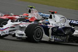 Timo Glock, Toyota F1 Team, TF108 and Nick Heidfeld, BMW Sauber F1 Team, F1.08